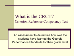 What is the CRCT? - Cobb County ESOL