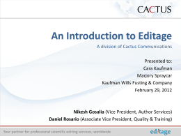 Introduction to Editage from CACTUS Communications