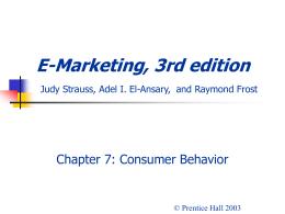 E-Marketing, 3rd edition Judy Strauss, Raymond