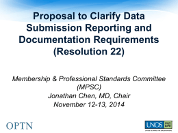 Proposal to Clarify Data Submission Reporting and