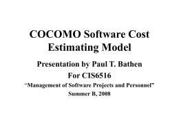 COCOMO Estimating Software