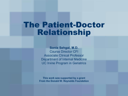 The Patient-Doctor Relationship