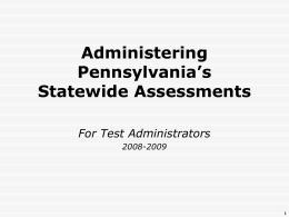 PSSA Administration Webinar 3-09