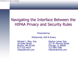 The Interface Between the HIPAA Privacy and