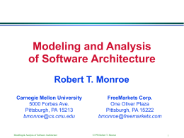 Modeling and Analysis of Software Architectures