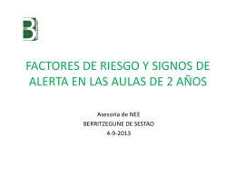 FACTORES DE RIESGO Y SIGNOS DE ALERTA EN LAS AULAS