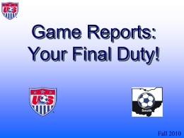 Game Reports - The Final Duty!