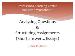 Professions Learning Centre Transition Workshop 11