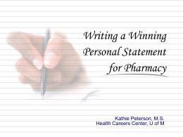 Writing a Winning Personal Statement