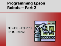 Programming Epson Robots – Part 2