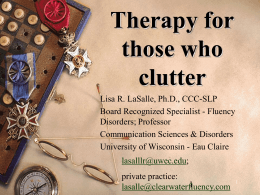 Cluttering: Diagnosis and Therapy Guidelines