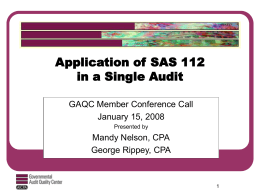 Application of SAS 112 in a Single Audit