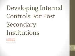 Developing Internal Controls For Post Secondary