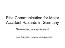 Risk Communication for Major Accident Hazards in