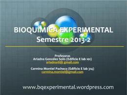 BIOQUÍMICA EXPERIMENTAL Semestre 2010-2