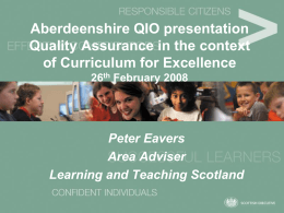 A Curriculum for Excellence Outcomes and