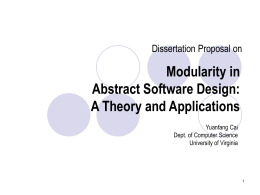 Modularity in Abstract Software Design -