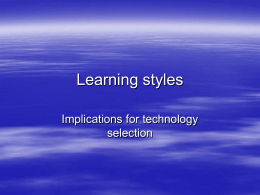 Learning styles - University of Warwick