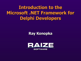 Introduction to the Microsoft .NET Framework for