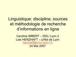 Linguistique: méthodologie de recherche