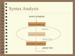 Syntax Analysis - Welcome to CUNY