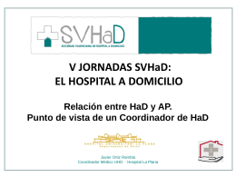 Coordinación entre UHD, Enfermera Gestora y