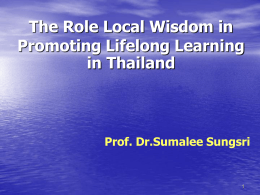 The Role Local Wisdom in Promading Lifelong