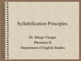 Syllabification Principles - PhoneticsIIUAM