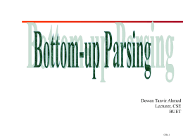 Bottom-up Parsing - Darbhanga College of