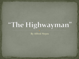 "The Highwayman"" - Memorial Middle School"