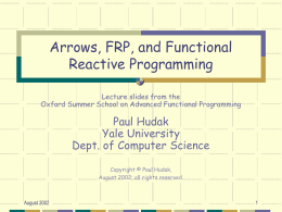 Arrows, FRP, and Functional Reactive Programming