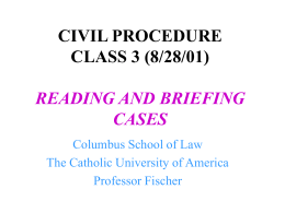 CIVIL PROCEDURE CLASS 3 (8/28/00) STAGES AND