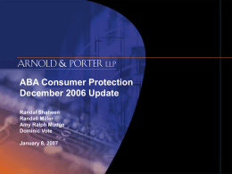 ABA Consumer Protection December 2006 Update