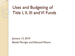 Uses of Title I, II, III and VI Funds