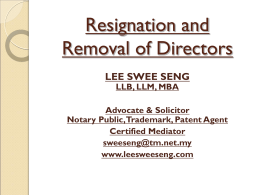 Resignation and Removal of Directors