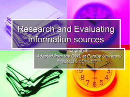 Research and Evaluating Information sources
