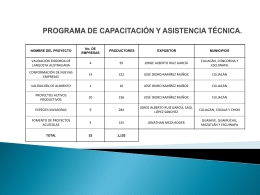 Programa de capacitación y asistencia técnica.
