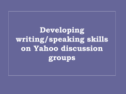 Developing writing/speaking skills on Yahoo