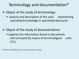 Terminology - Roma Tre University