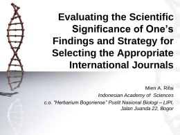 Evaluating the Scientific Significance of One's