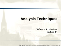 Analysis Techniques - Software Architecture: