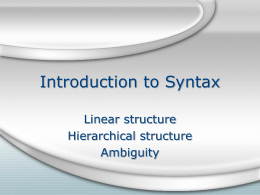 Introduction to Syntax - University of Florida