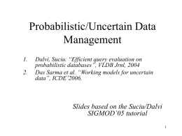 Probabilistic Data Management