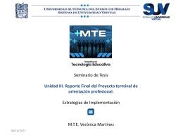 Maestría en Tecnología Educativa Seminario de