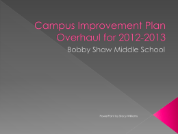 Campus Improvement Plan Overhaul for 2012-2013