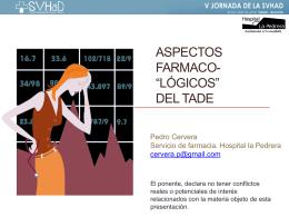 ASPECTOS FARMACOLÓGICOS DEL TADE