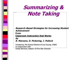 Summarizing and Note Taking Secondary Language