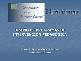 DISEÑO DE PROGRAMAS DE INTERVENCIÓN PEDAGIGIC