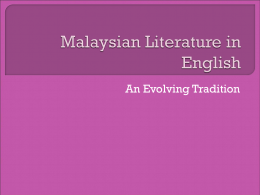 Malaysian Literature in English