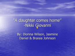 A daughter comes home""